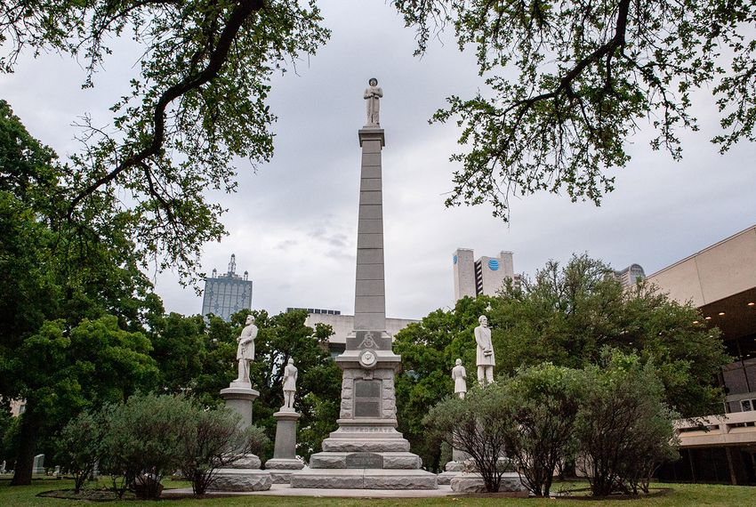 The Confederate War Memorial in Dallas on May 1, 2018. Erected in 1896 by the Daughters of the Confederacy, the memorial stands in a corner of Pioneer Park Cemetery in downtown Dallas among the graves of Dallas' early settlers.