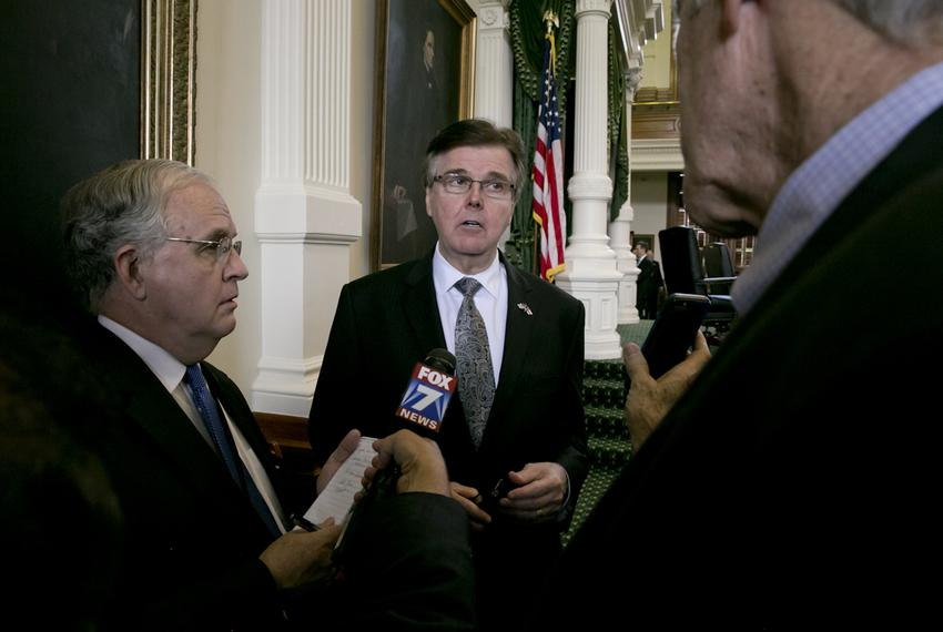 Lt. Gov. Dan Patrick spoke to reporters after the Texas Senate wrapped up the 84th legislative session on June 1, 2015.