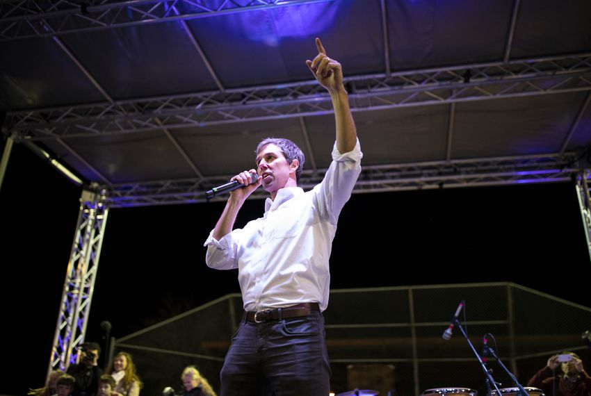Beto O'Rourke spoke during a counter-protest last month across the street from where President Donald Trump had a campaign rally in El Paso.