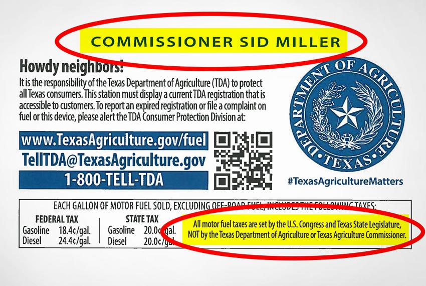 A new fuel pump sticker issued by the Texas Department of Agriculture puts tax blame on Congress and the Legislature while p…