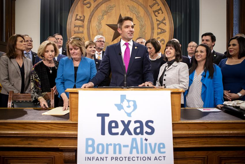 Rep. Jeff Leach, R-Plano speaks at a press conference to announce the filing of the Texas Born-Alive Infant Protection Act...