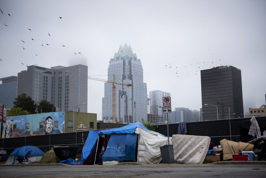 Tents were pitched in front of the Austin Resource Center for the Homeless in October.