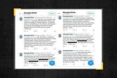 Georgia Clark's tweets to President Donald Trump.