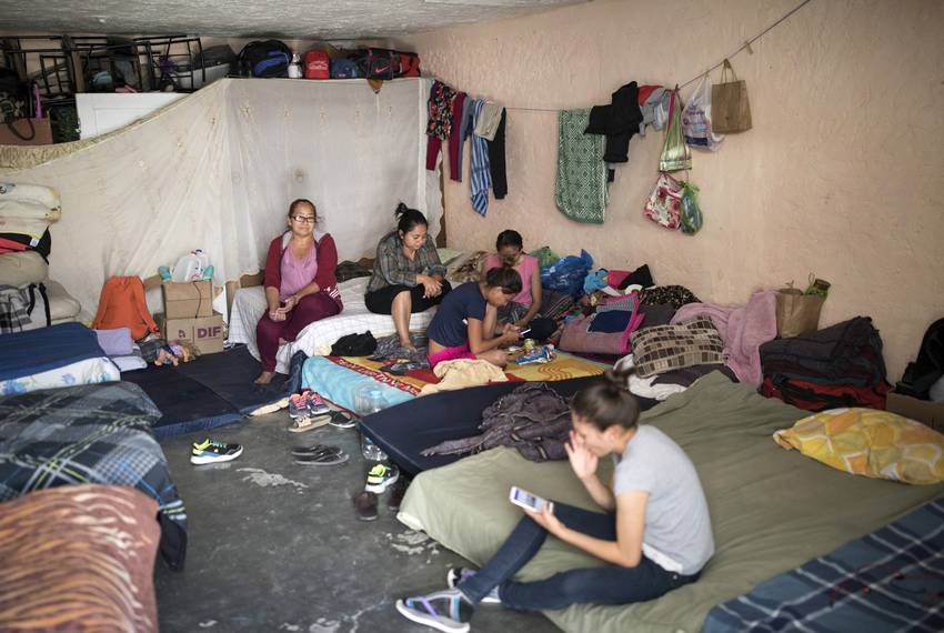 A group of women in their room at El Buen Pastor migrant shelter, on Monday, May 13, 2019, in Ciudad Juárez.
