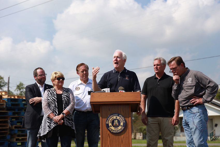 Left to right: (unknown), Beaumont Mayor Becky Ames, U.S. Rep. Randy Weber, R-Friendswood, U.S. Sen. John Cornyn, U.S. House Majority Leader Kevin McCarthy, R-CA and Jefferson Co. Judge Jeff Branick at a presser discussing Beaumont-area relief efforts on Monday, Sept. 4, 2017.