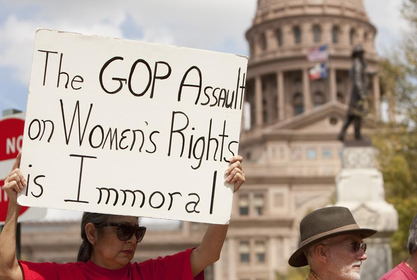 Protesters on March 6, 2012, rallying at the Capitol against the likely demise of the state's Women's Health Program.