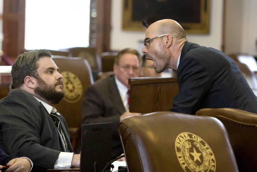 Rep. Dennis Bonnen R-Angleton and Rep. Jonathan Stickland R-Bedford in May 2017