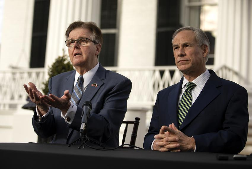 Gov. Greg Abbott and Lt. Gov. Dan Patrick at a joint press conference on the lawn of the Governor's Mansion on Jan. 9, 2019.…