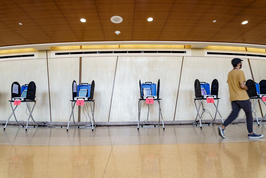 A polling location in the Performing Arts Center at Texas State University in San Marcos during early voting on Oct. 19, 202…