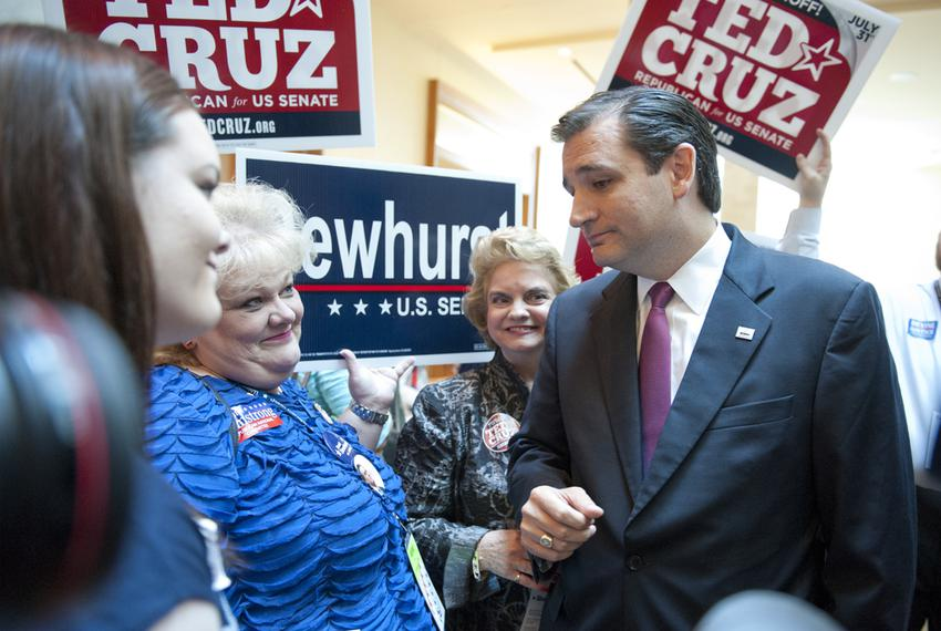 U.S. Senate candidate Ted Cruz talking with Sherri Heinzman, a supporter of Lt. Gov. David Dewhurst, on June 8, 2012.
