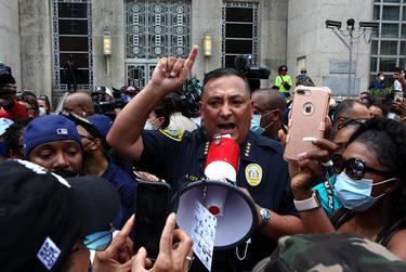 Houston Police Chief Art Acevedo responded to demonstrators Friday at a rally for George Floyd at Houston City Hall. He spoke about police accountability.
