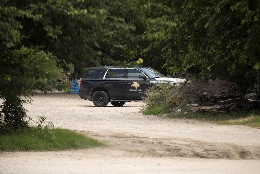 A Texas Department of Public Safety vehicle is stationed near the U.S. and Mexico border in Del Rio on July 22, 2021.