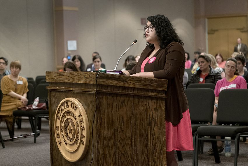 The Women's Health Advisory Committee took testimony from the public regarding the Healthy Women Section 1115 Demonstration Waiver application. Blanca Murillo, a former UT student, gives testimony on her experience with Planned Parenthood at the Health and Human Services Commission Brown-Heatly building in Austin on May 15, 2017.