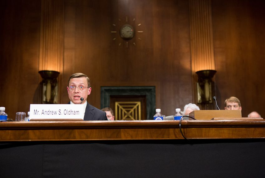 Andrew Oldham testifies at a confirmation hearing before the U.S. Senate Judiciary Committee on April 25, 2018.