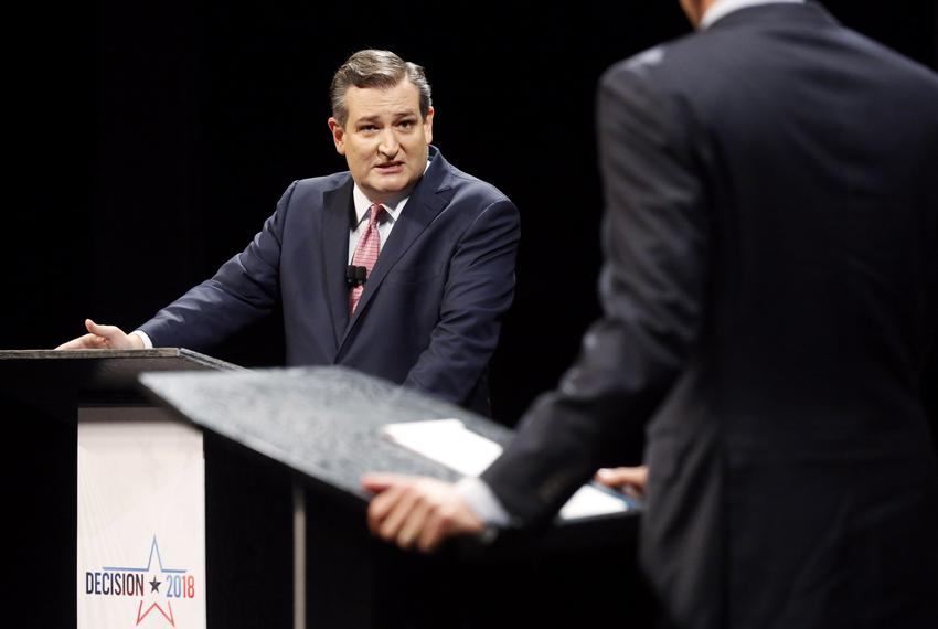 Sen. Ted Cruz turns toward Rep. Beto O'Rourke, D-El Paso, to make a point during a debate at McFarlin Auditorium at SMU in...