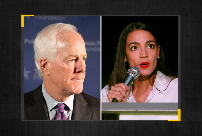 From left: U.S. Senator John Cornyn and U.S. Rep. Alexandria Ocasio-Cortez.