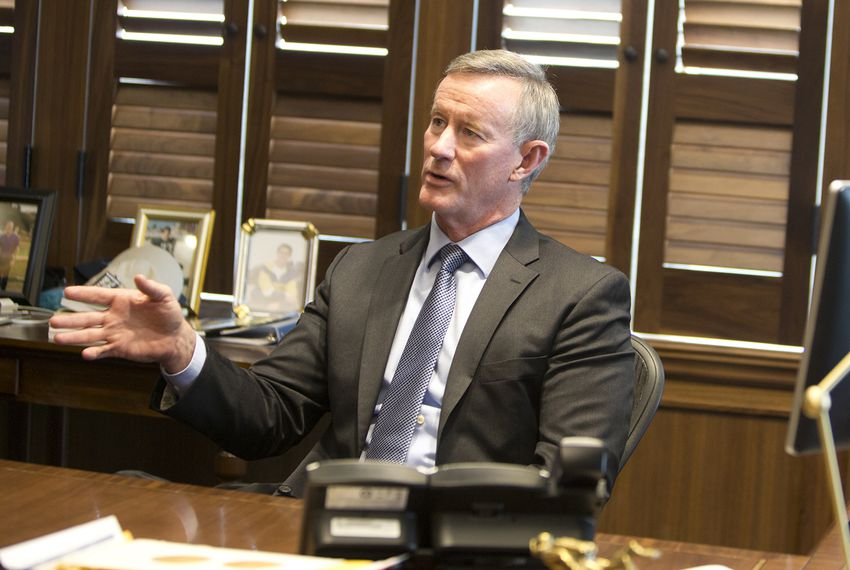 Former University of Texas System Chancellor William McRaven at his office in downtown Austin on May 22, 2018. | by Marjorie Kamys Cotera for The Texas Tribune