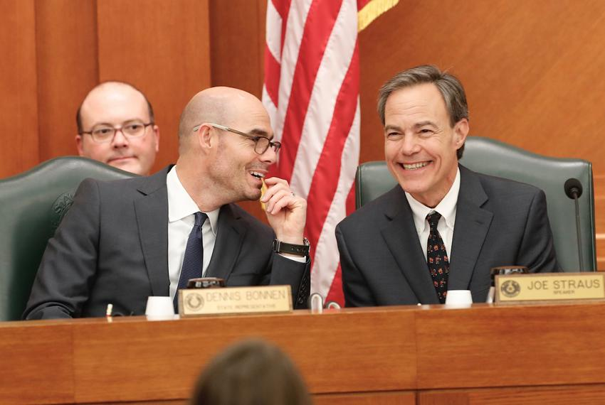 U.S. Rep. Dennis Bonnen, R-Angleton (left), and outgoing House Speaker Joe Straus, R-San Antonio, at a Legislative Budget Bo…