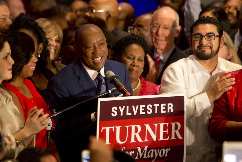 State Rep. Sylvester Turner, D-Houston, speaks to crowd of supporters on Nov. 4, when he earned a spot in the Houston mayora…