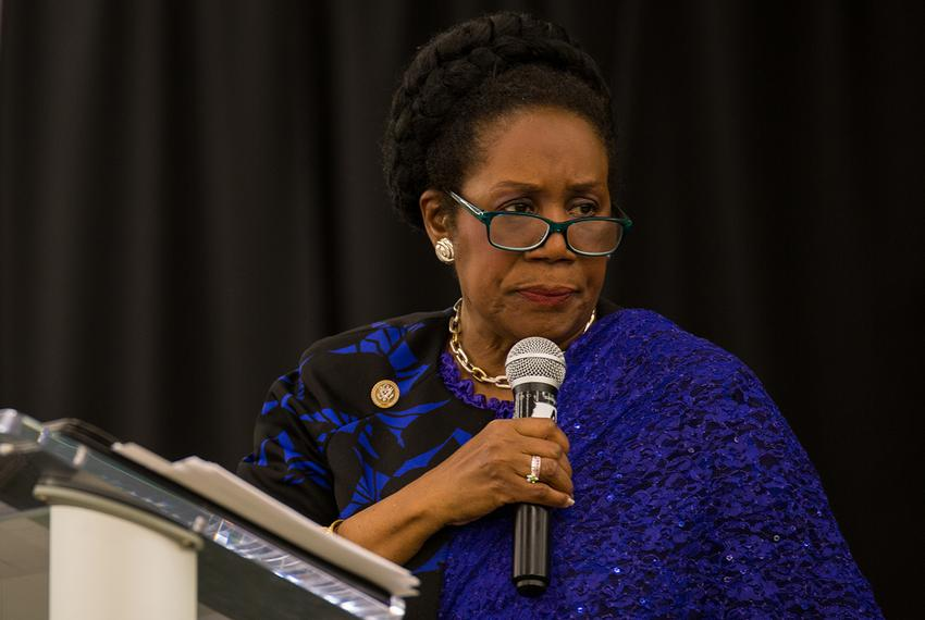"U.S. Rep. Shelia Jackson Lee, D-Houston, speaks at the ""No More Blood Shed"" town hall meeting in Houston, Texas on April 2, …"