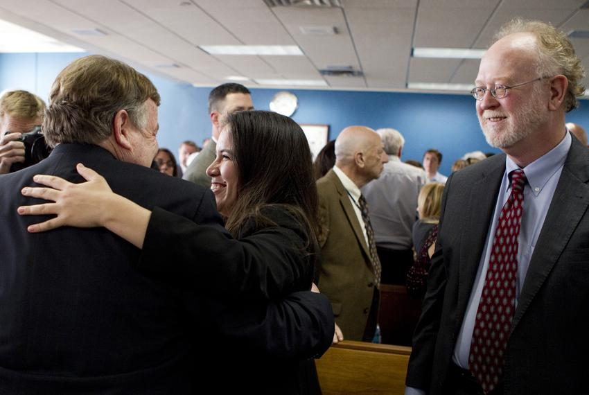 Attorneys representing Texas school districts congratulated each other after a judge ruled on Feb. 4, 2013, that the state...