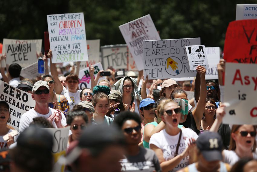 "Thousands of demonstrators gathered at the Capitol for the ""Families Belong Together"" rally on June 30, 2018, to protest President Trump's immigration policies."