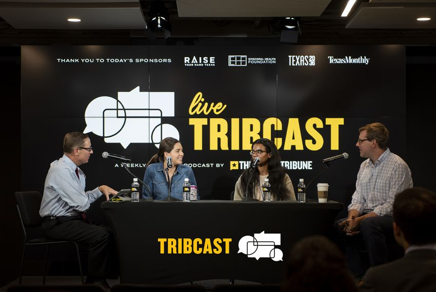 From left: Texas Tribune CEO Evan Smith is joined by Tribune political reporters Cassi Pollock, Alex Samuels and Patrick Svitek for a live TribCast on Oct. 16, 2019.