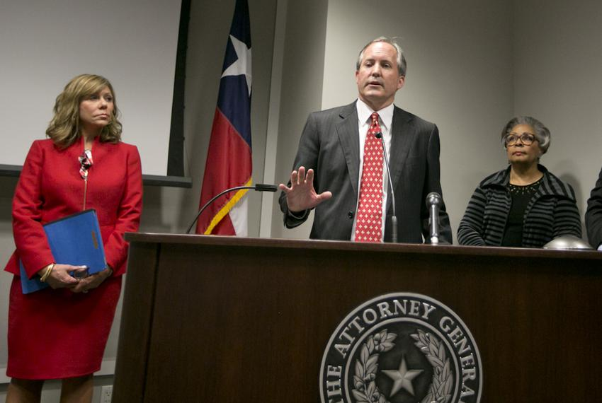 AG Paxton is joined by Sen. Joan Huffman R-Houston and Rep. Senfronia Thompson D-Houston at a press conference to recognize …