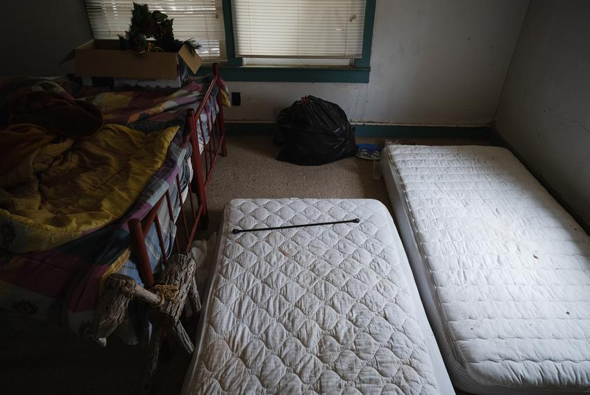 Mattresses where migrants slept after breaking into a vacant ranch house in rural Hudspeth County on Aug. 11, 2021.
