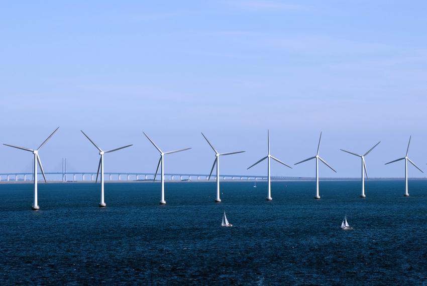 A wind farm generates electricity off the coast of Copenhagen. Wind energy accounted for 42 percent of Denmark's generatio...