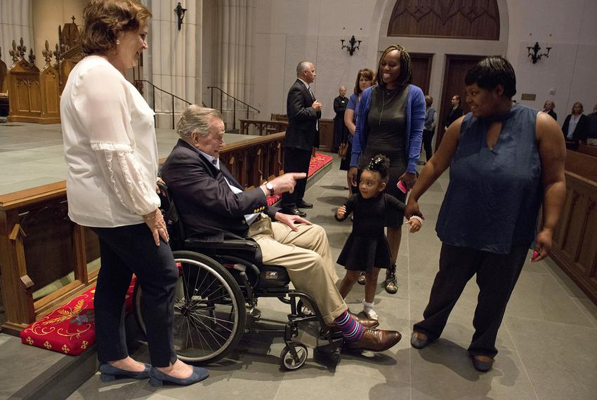 "Former President George H. W. Bush greets the mourners with his daughter Dorothy ""Doro"" Bush Koch during the visitation of..."