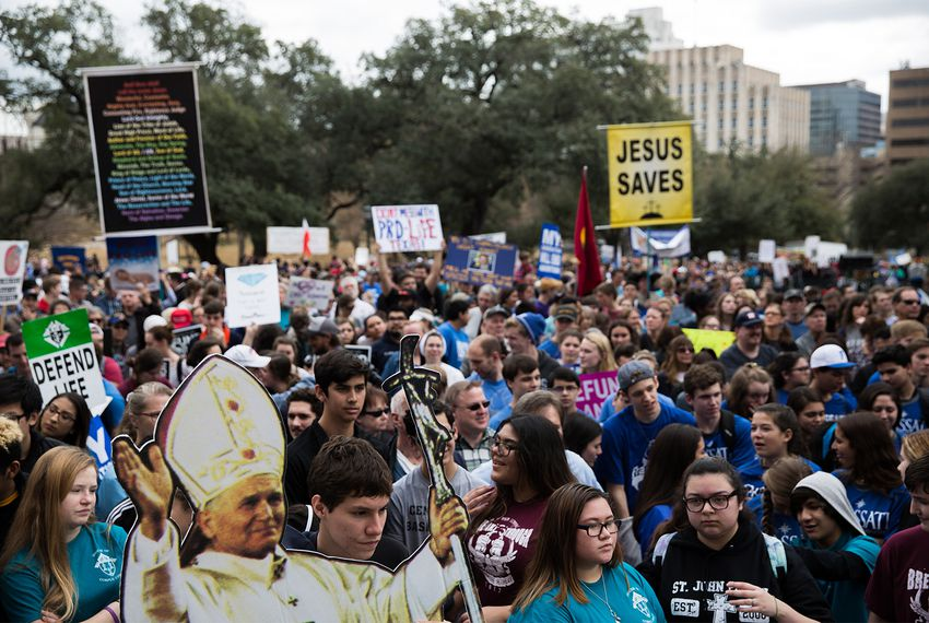 Anti-abortion advocates at the Rally for Life march in Austin on Saturday, Jan. 27, 2018.
