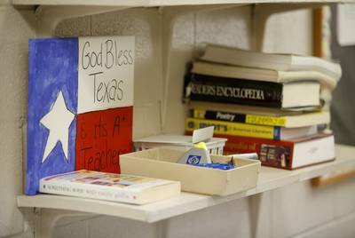 Flag art in the teachers' work room at the elementary school in Buffalo on March 28, 2019.