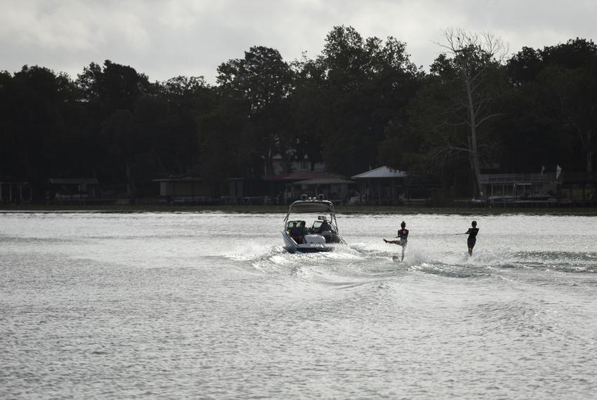 Water skiiers out on Lake McQueeney near Seguin on Aug. 30, 2019.