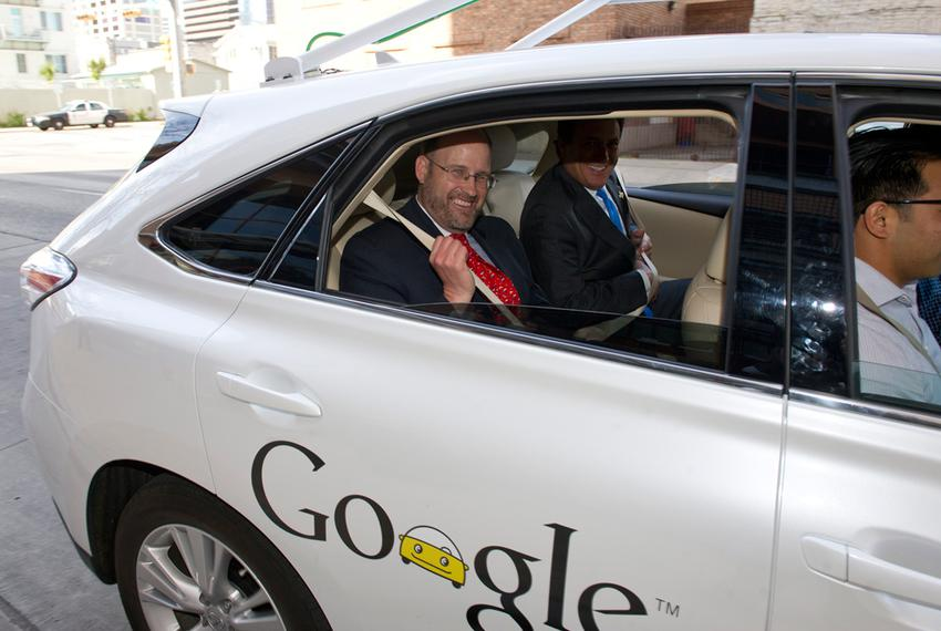 Texas Department of Transportation Executive Director Phil Wilson gets a ride in a Google self-driving car on Feb. 19, 2013,…