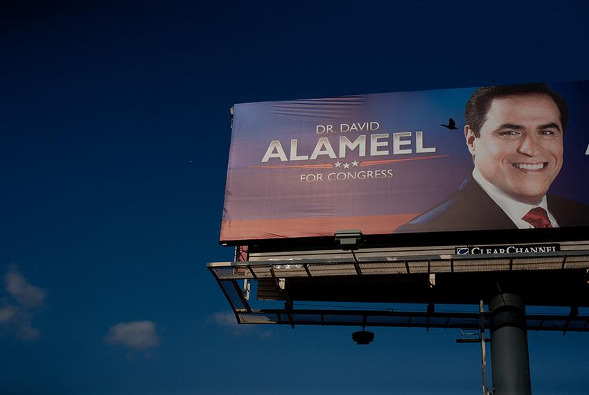 One of Dr. David Alameel for Congress billboards along 1-30 in Grand Prairie, Texas.