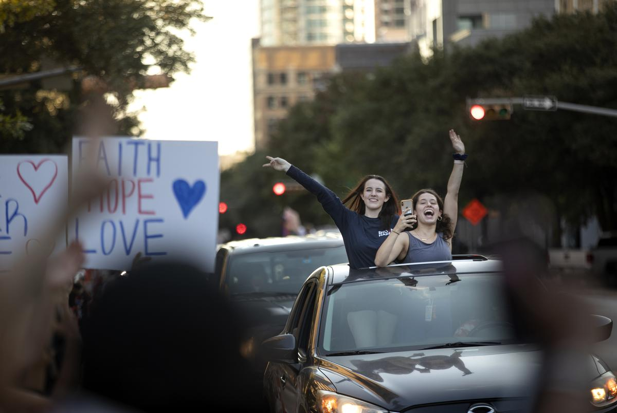 Supporters of President-elect Joe Biden gathered in downtown Austin to celebrate his election victory. Nov 7, 2020.