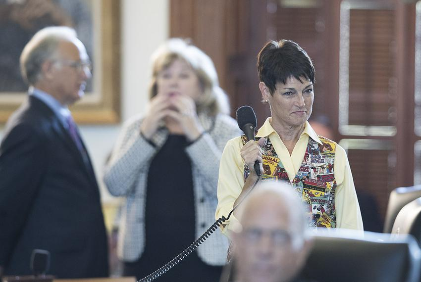 State Sen. Donna Campbell, R-New Braunfels, answers questions from Sen. Carlos Uresti, D-San Antonio, about Senate Bill 6, t…