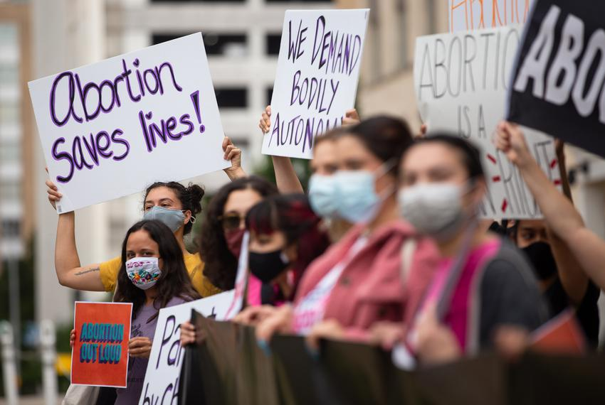 Protestors gather in front of the Governor's mansion in Austin to protest against SB 8, an anti-abortion bill in the senate,…