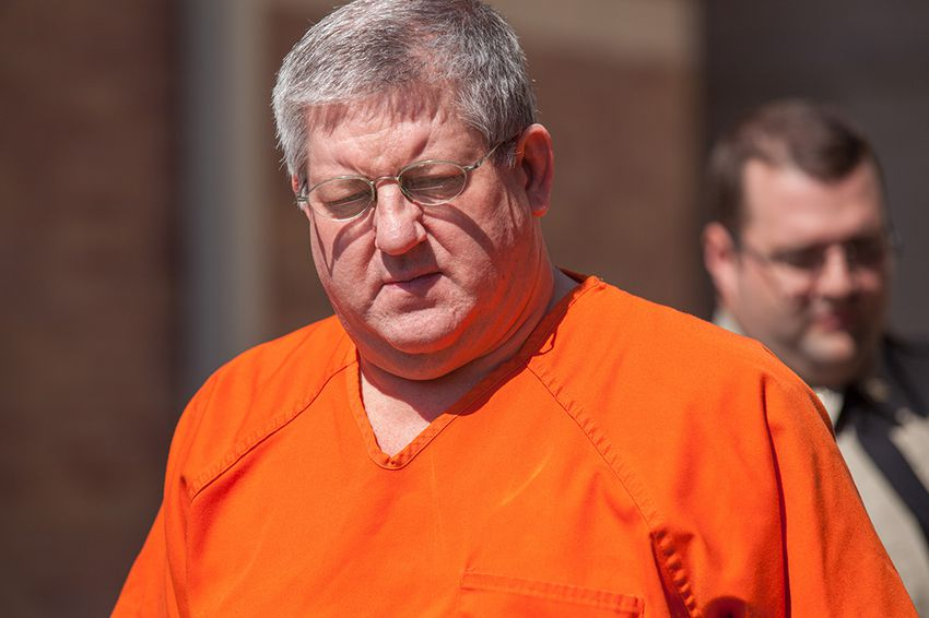 Bernie Tiede leaves the Panola County Courthouse on May 6, 2014.