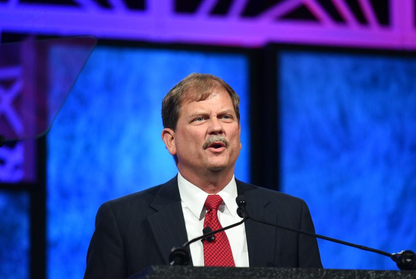 Chair Tom Mechler at the GOP state convention on May 12, 2016.