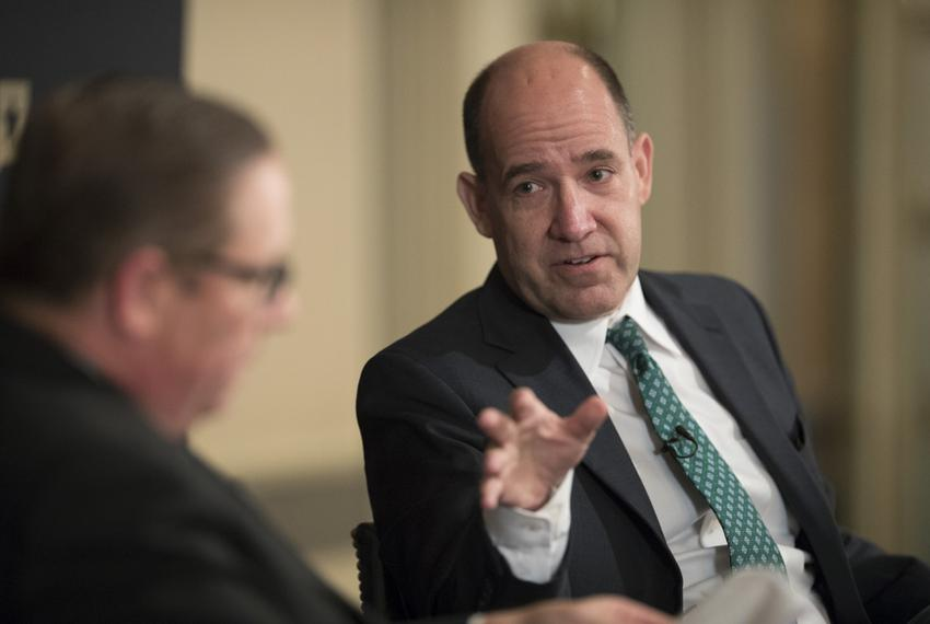Political analyst Matthew Dowd at a Texas Tribune event in Austin with Tribune CEO Evan Smith on May 10, 2017.