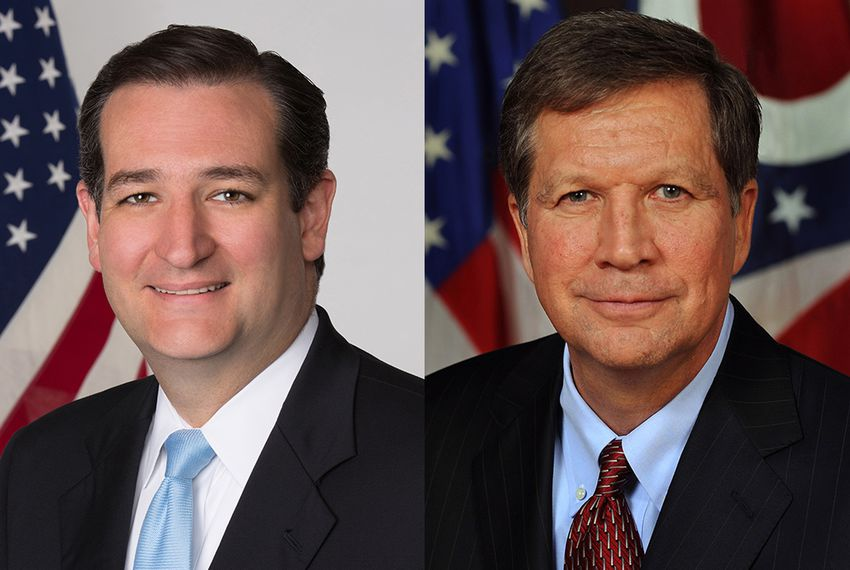 U.S. Sen. Ted Cruz (l) and Ohio Gov. John Kasich