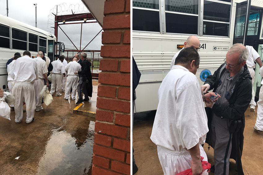 Two photos provided by the Texas Department of Criminal Justice show inmates from units aroundRosharon, south of Houston, being evacuated Saturday because of Hurricane Harvey.