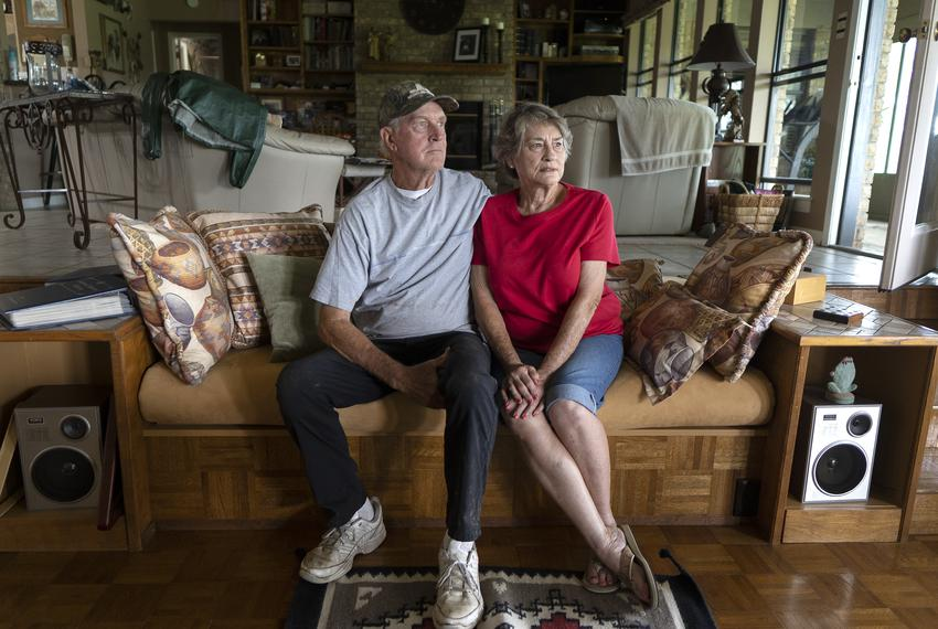 From left: Ronnie McKee, 75, and his wife Nancy McKee, 74, at their home in Lee County on July 12, 2021. The McKees are two …
