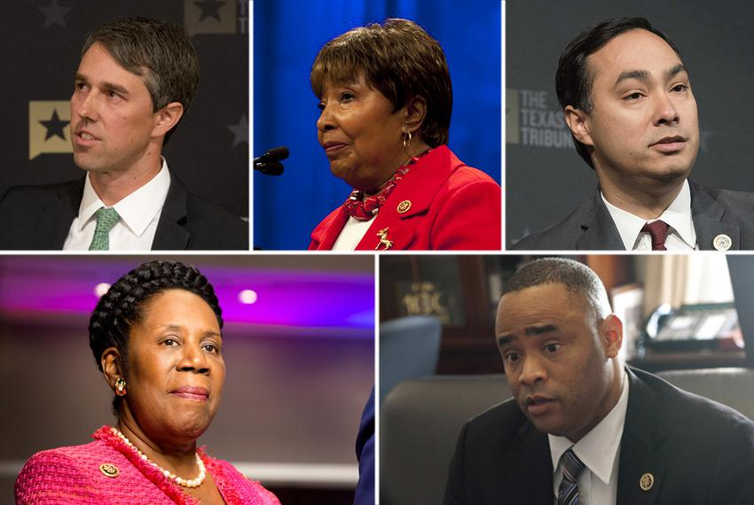 Clockwise from top left: U.S. Reps. Beto O'Rourke, D-El Paso, Eddie Bernice Johnson, D-Dallas, Joaquin Castro, D-San Antonio…