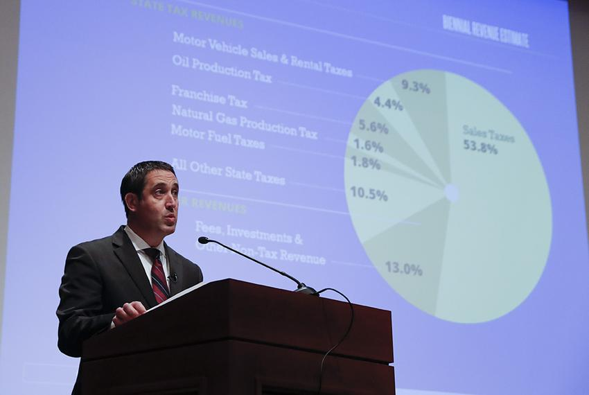 Texas State Comptroller Glenn Hegar discusses the sources of state revenue as he presents the Biennial Revenue Estimate at...