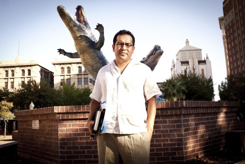 El Paso city representative Steve Ortega, District 7,  poses for a portrait in San Jacinto Plaza, also known to previous gen…