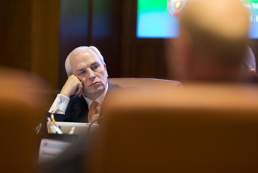 Chairman of the UT Board of Regents Gene Powell listens to committee reports on Feb. 14, 2013.