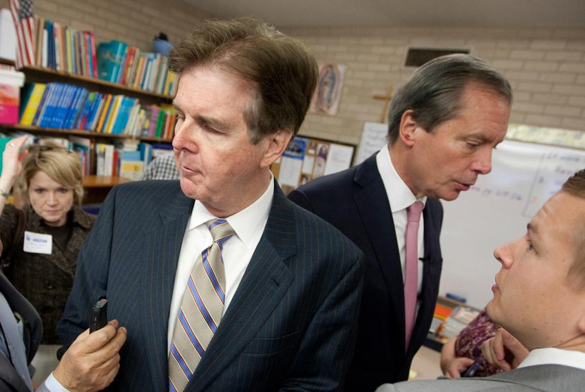 Lt. Governor David Dewhurst and Sen. Dan Patrick R-Houston, during a December 2012 press conference to discuss education r...